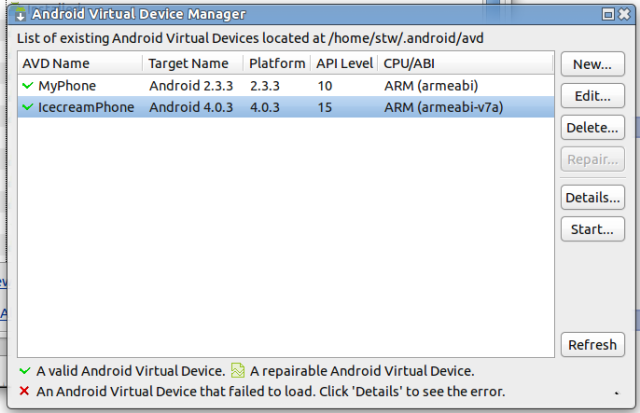 Various Android Virtual Devices